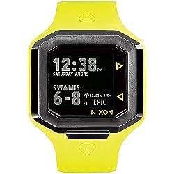 Nixon Ultratide Neon Yellow/Gunmetal Surfline Rating, Wave Heigh, Swell Height, Real Time Tide Digital Men's Watch A476-2111