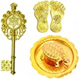 Kriwin Combo of Laxmi Charan Paduka, Wish fulfilling tortoise on Plate & Kuber Kunji Key ( gold) Vastu, Fengshui, Diwali Auspicious Items