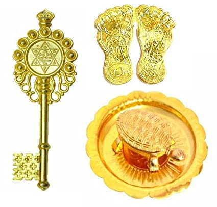KRIWIN® Combo of Laxmi Charan Paduka, Wish Fulfilling Tortoise on Plate &  Kuber Kunji Key (Gold) Vastu, Fengshui, Diwali Auspicious