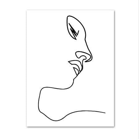 Xiaoxinyuan Fille Visage Ligne Dessin Mur Art Impression