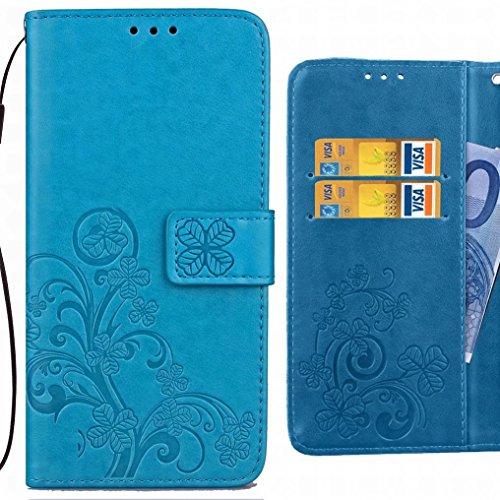 Ougger Fundas Samsung Galaxy S9 Carcasa, Hojas Suerte Billetera PU Cuero Piel Magnética TPU Silicona Flip Protector Carcasa Tapa Cover por Samsung Galaxy S9 con Ranura para Tarjetas (Negro) Azul