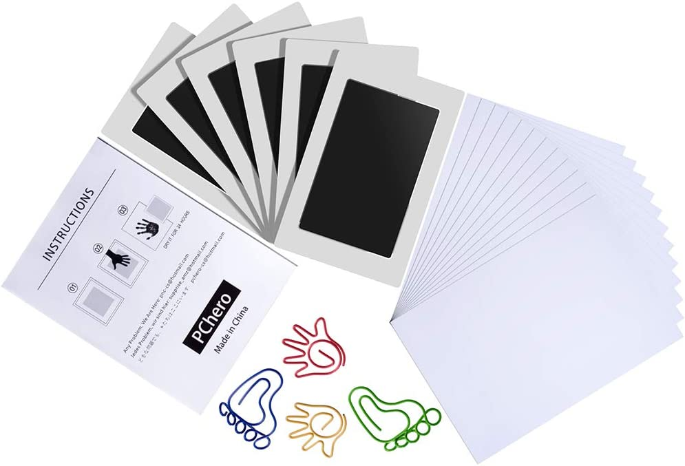 6 Packs Clean Touch Ink Pads for Baby Handprints and Footprints Black Medium Size PChero Inkless Print Kit for Family Keepsake Newborn Shower Gifts