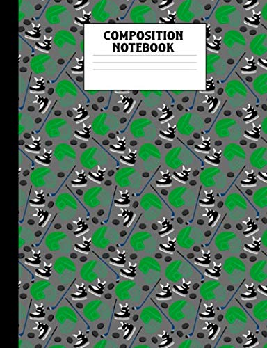 Composition Notebook: Ice Hockey Player Pattern Wide Ruled Comp Book ()