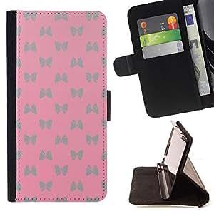 BullDog Case - FOR/Sony Xperia Z2 D6502 / - / bowtie pattern silver butterfly pink /- Monedero de cuero de la PU Llevar cubierta de la caja con el ID Credit Card Slots Flip funda de cuer