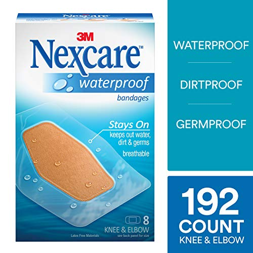 Clear Protection Nexcare Bandages Waterproof (Nexcare Large Waterproof Bandages, Seals Out Water, Dirt and Germs, Breathable, Protects Cuts, Scrapes, and Blisters, 8-Count Packages (Pack of 24))