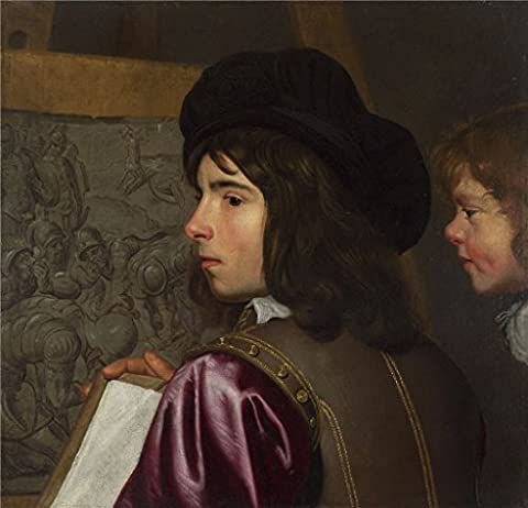 The Polyster Canvas Of Oil Painting 'Jacob Van Oost The Elder Two Boys Before An Easel ' ,size: 30 X 31 Inch / 76 X 79 Cm ,this Cheap But High Quality Art Decorative Art Decorative Prints On Canvas Is Fit For Nursery Artwork And Home Gallery Art And - Aqua Stripe Wall Sconce
