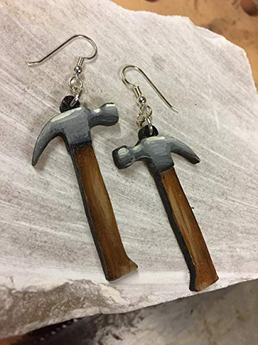 Hammer Earrings (not 3D) that are laser cut and hand painted out of solid cherry wood to give the illusion of 3D // gifts for ()