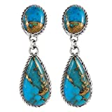 Turquoise Earrings Sterling Silver Copper-Infused Matrix Turquoise Jewelry (PICK STYLE) (Bold Teardrops)