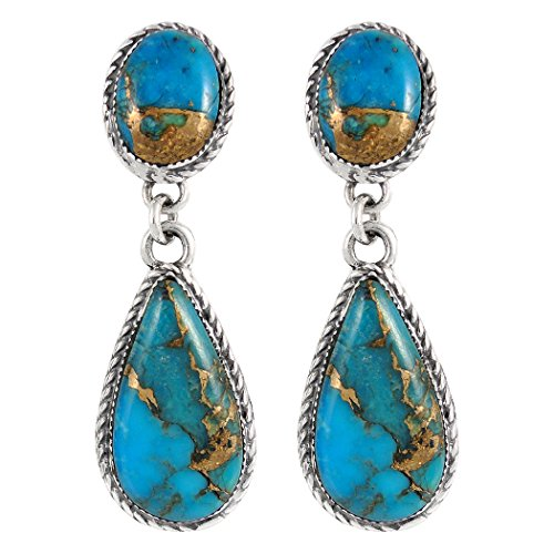Turquoise Earrings Sterling Silver Copper-Infused Matrix Turquoise Jewelry (Bold Teardrops)