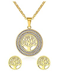 Vnox Stainless Steel Rhinestone Tree of Life Pendant Necklace and Earrings Jewelry Set,Gold