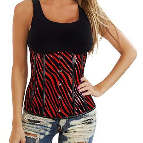 Women's Sexy Bustiers Zebra Print Overbust Corsets Red Underbust Corset Tops