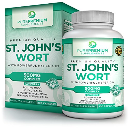 Premium St Johns Wort Supplement by PurePremium | Natural Mood Enhancer with Powerful Hypericin | Support Mental Health & Promote Emotional Well-Being | Non-GMO & Gluten-Free | 100 Caps (100 Herbal Singles Caps)