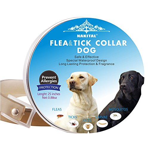 Nakital Flea And Tick Collar Prevention for Dogs Control,Flea Collars for Dogs Adjustable Collar Large Small Dog