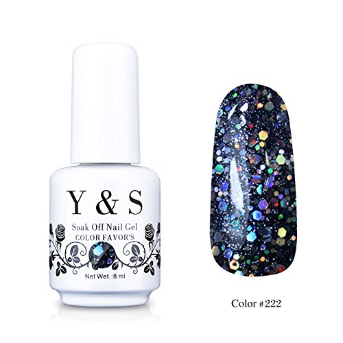 oak-off (Gel Nail Polish) UV LED Nail Art/Beauty Care Glitter Blue Black Marble Color 8ml -#222 (Halloween Gel)