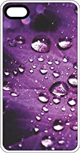 Water Drops On Purple Leaf Background White Plastic Case for Apple iPhone 5 or iPhone 5s