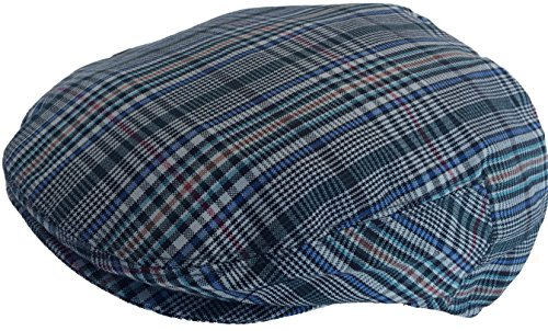 (Summer Plaid Ivy Scally Driver Cap Polyester Flat Hat (X-Large, Blue/Green/Red))