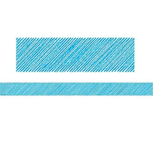 Teacher Created Resources Aqua Scribble Straight Border Trim (Blue Border Trim)