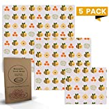All Prime 5 Pack of Reusable Beeswax Food Wrap - 2 Small 2 Medium 1 Large Beeswax Wrap - Eco Friendly Beeswax Wrap - Bees Wrap Food Wrap For Your Kitchen