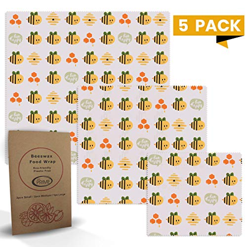 All Prime Reusable Beeswax Food Wrap 5 Pack - 2 Small, 2 Medium, 1 Large Beeswax Food Wraps - Eco Friendly Beeswax Wraps for your Kitchen - Eco Food Wrap - Kind to the Environment (Wrap Eco)
