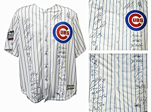 2016 Chicago Cubs Team Signed Chicago Cubs Joe Maddon White Pinstripe Majestic Jersey w/2016 WS Patch (26 Sigs)