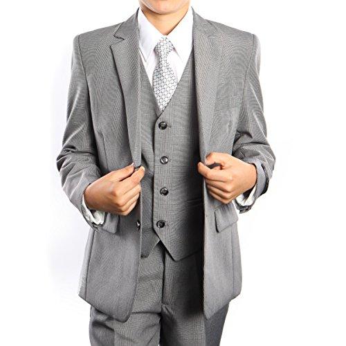 Boys 3-Piece Glen Plaid Tuxedo Suit Set with Free Matching Shirt & Tie (02,Grey)