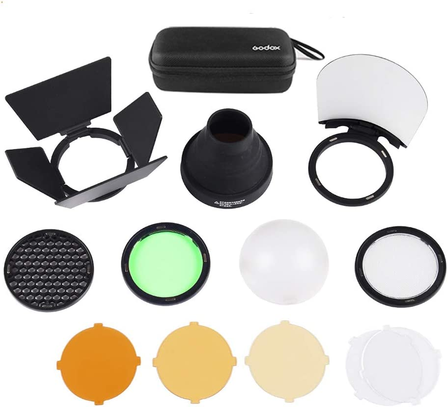 Snoot Honeycomb Diffuser Ball Kits for Godox AD200 and H200R Round Flash Head Godox AK-R1 Accessories Kit with Barn Door Reflector Color Filter