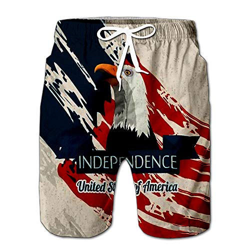Summer Shorts Pants American Eagle Ribbon and Independence Sign Over Beige Paint Stains Swim Trunks Stripe Casual Swim Shorts S