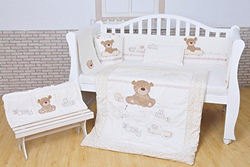 JACKBABYBABY Unisex Baby Bedding Set Cotton 3D Embroidery Bear Quilt Pillow Bumper Bed Sheet 5 Pieces Crib Bedding Set White Color by JACKBABYBABY (Image #5)
