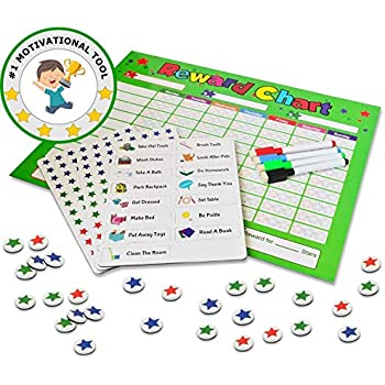 behavior chores chart for kids toddlers rewards responsibility daily routine calendar dry erase schedule planner star magnetic board for multiple