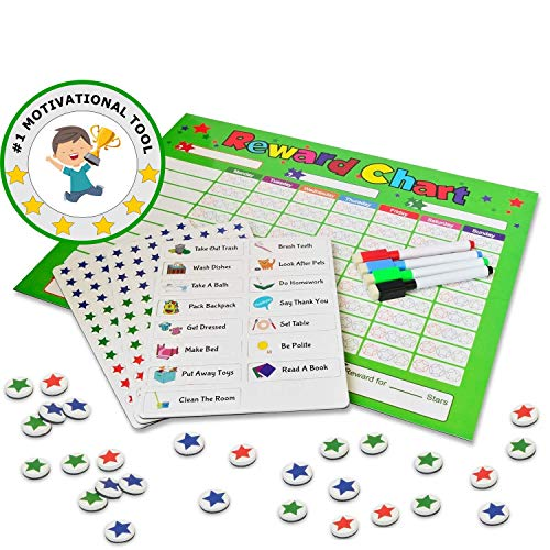 Behavior Chores Chart For Kids / Toddlers  Rewards Responsibility  Daily Routine Calendar  Dry Erase Schedule Planner  Star Magnetic Board For Multiple Kids Education 16 x 12