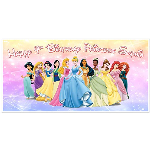 Princess Birthday Banner Personalized Party Backdrop Decoration -