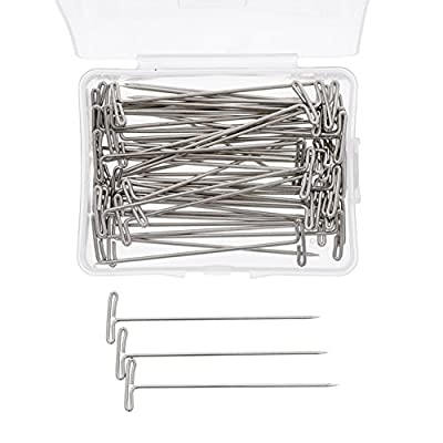 100Pcs Hair T Pins For Blocking Knitting Modelling Macrame Holding Wigs DIY Hair Style Tool with Plastic Box Strong Durable Easy to Insert and Remove