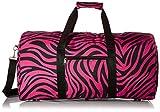 World Traveler Pink Black Zebra Gym Duffle Bag 21-inch