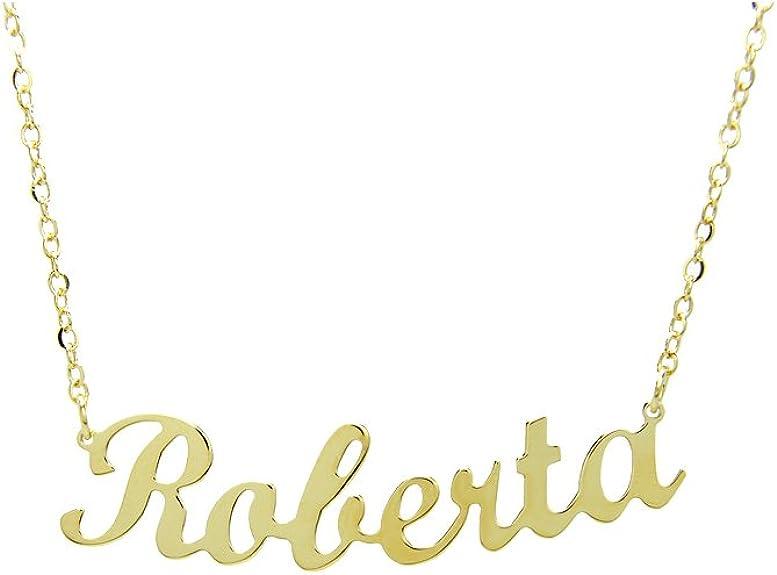 Collana Argento 925 placcata oro 1 micron con tuo nome