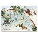 """Christmas Sledding - 5"""" x 7"""" Pop Up Christmas Greeting Card"""