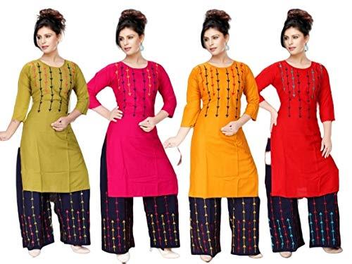 Mobile Junction Women Plazo Suit(Multi-Coloured_Medium) : Amazon.in:  Clothing & Accessories