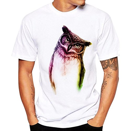 Zulmaliu Owl Printing Top Men Short Sleeve Tee Shirt Summer T-Shirts Sport Blouse (White, L)