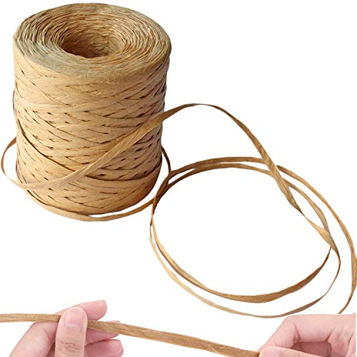 Raffia Paper Ribbon Craft String Packing Paper Twine for Festival DIY Decor Birthday and Weaving Party Box Wrapping Hanging Tags Paper Raffia Roll 50 Yards