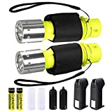HeCloud 2 Pack LED XM-T6 Professional Diving Flashlight with Battery Charger, Bright LED Submarine Light Scuba Safety...