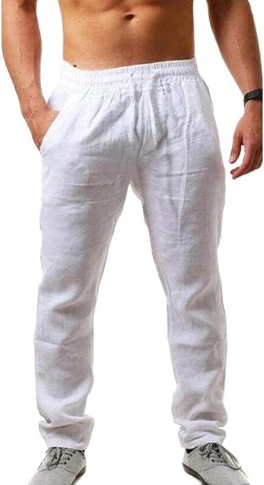 Youcai Pantalones De Lino Para Hombre Estilo Casual Holgado Cintura Elastica Pantalones De Playa Comodo Largo Amazon Es Ropa Y Accesorios