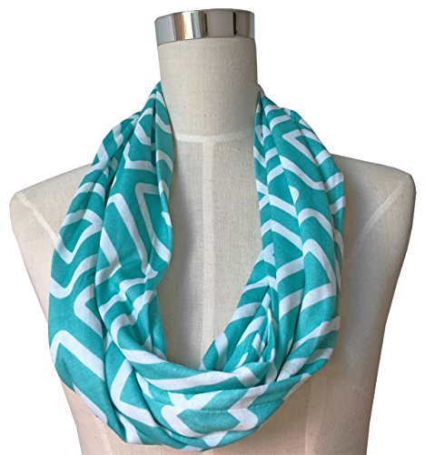 Womens Teal Infinity Scarf, Geometric Pattern Scarf, Zipper Scarf, Fashion Scarf, Infinity (Fair Isle Scarf Pattern)