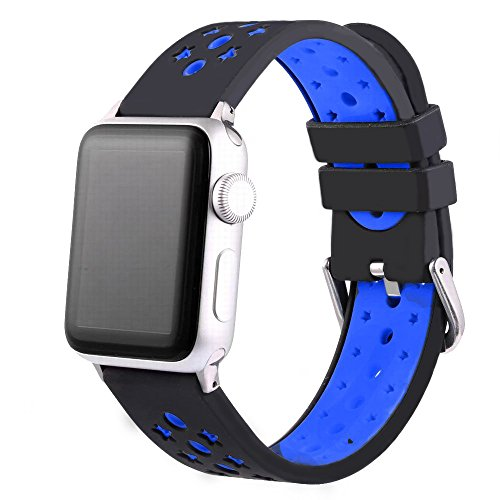 For Apple Watch Bands ,Copbis Silicone Replacement Straps and Sport Watch Wristband in two colors for Iwatch Bands (Blue+Black, 38mm)