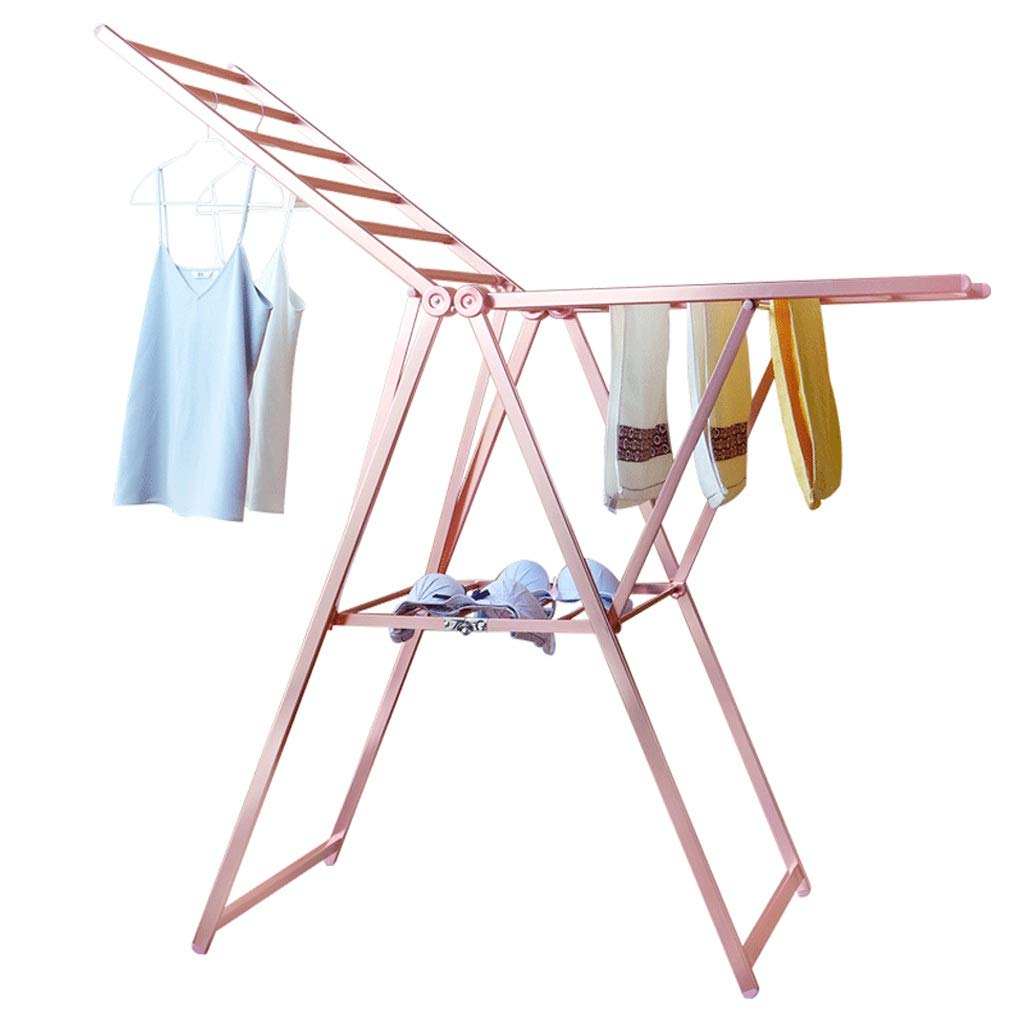 翼のある衣服のアイレア拡張可能なステンレススチール洗濯乾燥ラック洗濯ライン室内または屋外の高さ調節用乾燥タオルレールピンクの90130cm B07JQ44LJL
