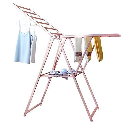 Aireador de ropa con alas. Línea de lavado de acero inoxidable expandible. Rack de