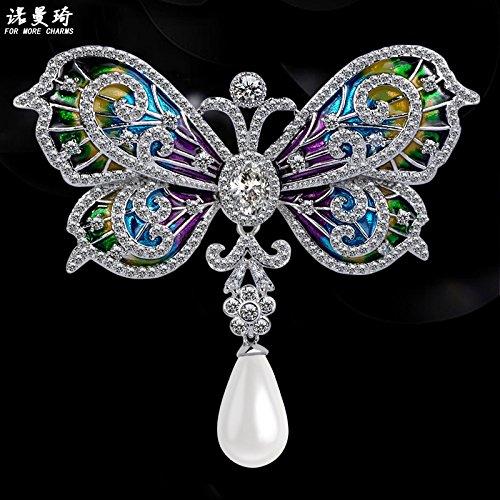 TKHNE Korea luxurious micro-studded zircon butterfly brooch pin badge brooch pin badge pin women girls coat cardigan coat elegant atmosphere (Studded Brooch Pin)