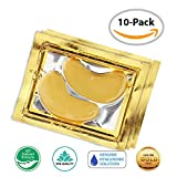Bags Under Eyes Patches 24K Gold Eye Mask / Anti-aging Hyaluronic Acid Eye Patches / Gold Collagen Eye Strips for Anti Wrinkle Tissue Rejuvenation / Spa Quality / 10-Pack