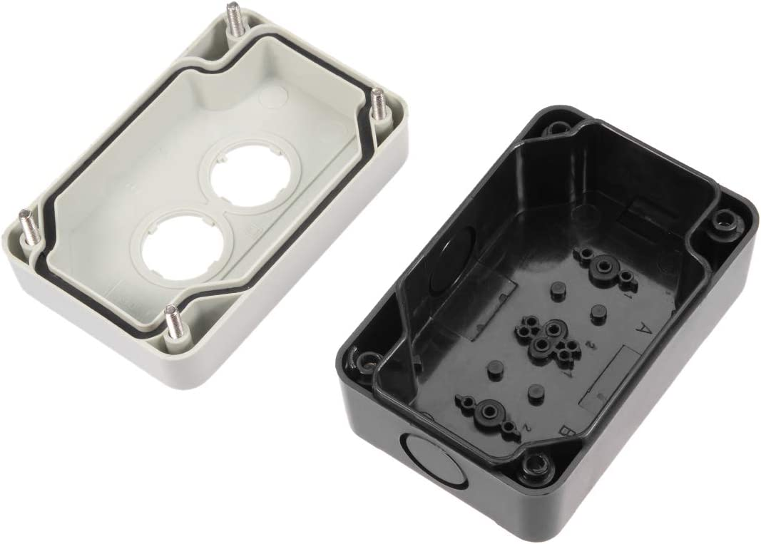 uxcell/® Push Button Switch Control Station Box 22mm 2 Button Hole Watertight Black and White