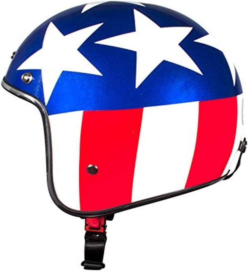 Bhr Demi Jet Model 711 Helmet 61 Bianco Blue Rosso Usa Auto