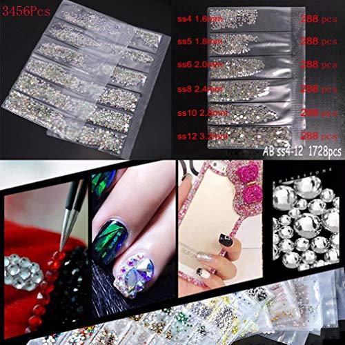 Nail Art Rhinestones Kit, Nail Rhinestones, Multicolor Nail Studs Horse Eye Rhinestones for Nail Art Decorations Supplies (Clear)
