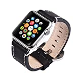 Kobwa 38mm Watch Leather Wrist Band for Apple, Premium Vintage Crazy Horse Leather Watches Band with Secure Metal Clasp Classic Buckle Replacement Strap for Apple Watch Series 1 Series 2